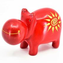 "Hand Carved Kisii Soapstone ""Crimson Sunshine"" Red Hippopotamus Hippo Figure image 2"