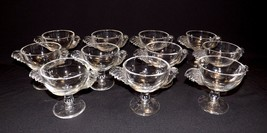 Set of 11 Vintage Rooster Chicken Clear Glass Sherbet Ice Cream Cups Footed - $99.95
