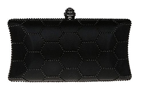 New Rhinestone Quilted Clutch Evening Bag Wedding Package--Black