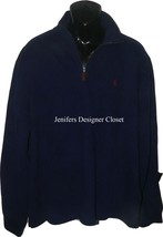 NWT POLO RALPH LAUREN Men's XXL 2XL 1/4 zip cotton pullover sweater cruise navy  - $58.19