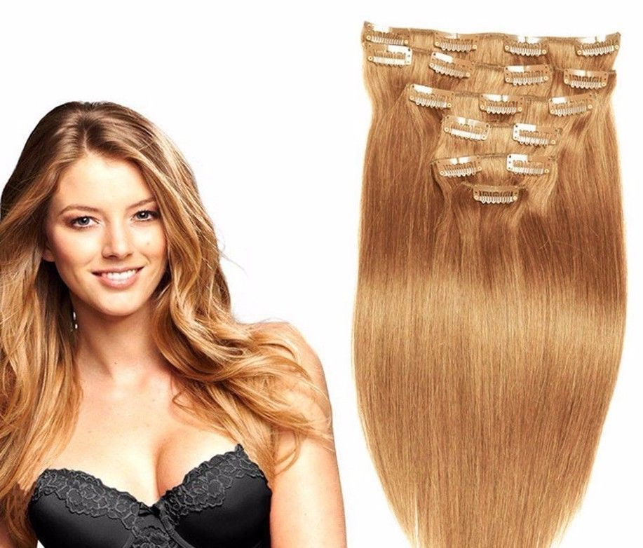 8 Pc Clip In Human Hair Extensions 18 And Similar Items