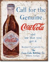 Coca Cola Coke Call For Genuine Advertising Vintage Retro Decor Metal Ti... - $15.99