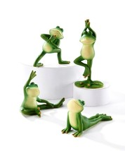 Set of 4 - Yoga Frog Design Figurines - Zen Frog Strikes 4 Different Yoga Poses
