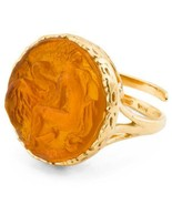 NEW AUTH TAGLIAMONTE Leda&Swan Gold Venetian Glass Adjustable RING w/Box... - $84.14