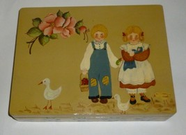 Painted Girl & Boy With Ducks And Flowers Woode... - $29.99