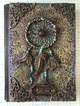 Handcrafted Dream Catcher Journal with amethyst Center Bead  - $52.00