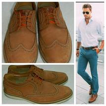 Bostonian Haymaker Oxford Wing Tip Dress Shoes Sz 10.5 Suede Cognac Tan Brown  Z - $28.50