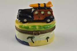 Classic 1940's Ford Woody & Surfboard Ceramic Jewelry Trinket Box - $5.93