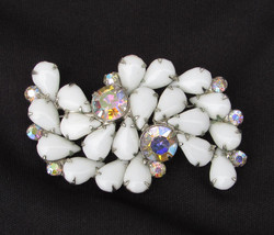 Pin White pronged stones & iridescent rhinestones vintage silver tone se... - $17.50
