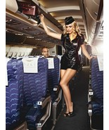 BACI Sexy Mile High Club Black Latex Mini Stewardess Dress Lingerie Costume - $26.99