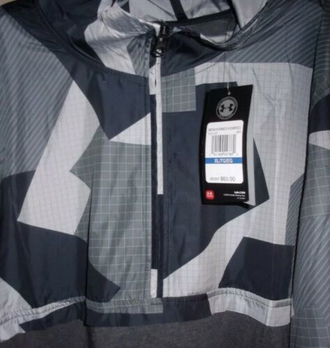 UNDER ARMOUR HOODIE PULL OVER WINDBREAKER TOP Black & Gray Adult Extra Large!! image 9