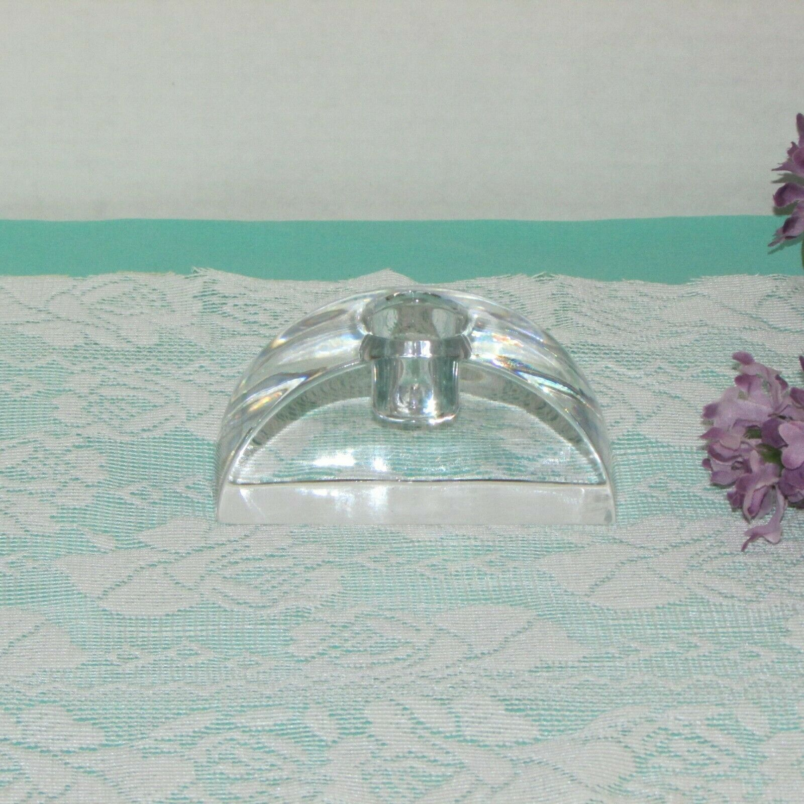MIKASA CRYSTAL CANDLE HOLDER SIGNATURE ARCHED TAPER SINGLE HEAVY SIGNED image 3