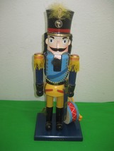 Toy Soldier Wood Nut Cracker Hand Painted Dressed in Blue Black & Yellow... - $16.79