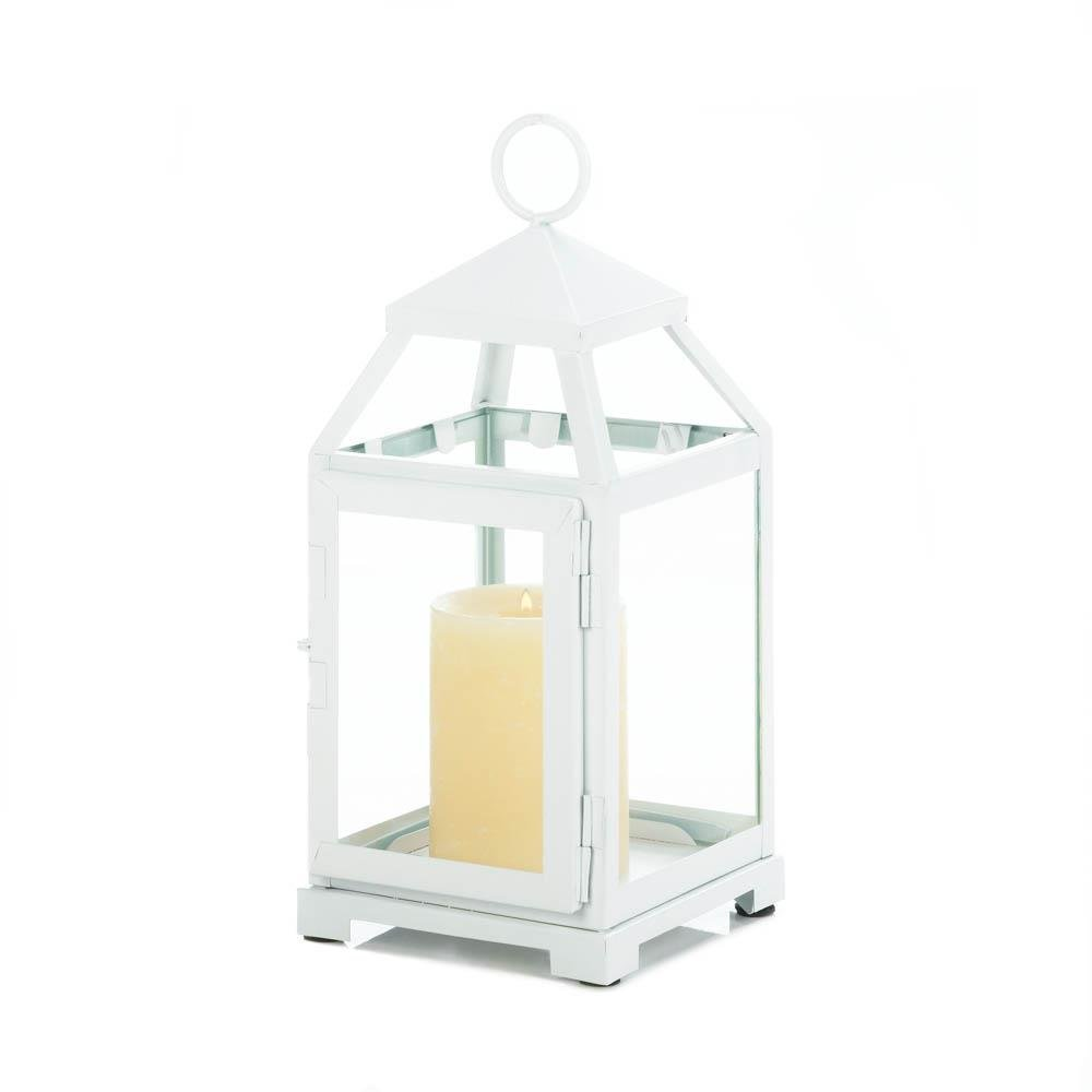 Wooden Candle Lantern, White Christmas Decorative Modern Outdoor Lantern Candle