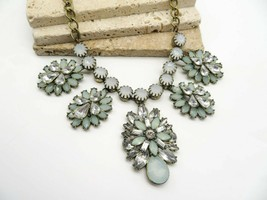 Blue White Rhinestone Distressed Antiqued Gold Bib Statement Choker Neck... - $21.99