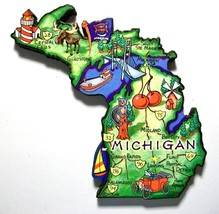 Michigan The Great Lakes State Artwood Jumbo Fr... - $6.00