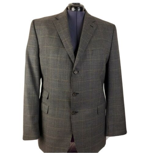 Lauren Ralph Lauren Wool Brown Glen Plaid Blazer Jacket Sport Coat 44L - $64.33