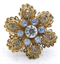 Vintage Gold Tone Filigree Clear Blue Rhinestone Flower Pin Brooch - $39.60