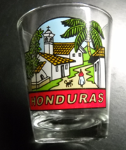 Honduras Shot Glass Colorful Town and Church Scene on Clear Glass - $6.99