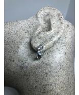Genuine Clear Sapphire Deco Hoop 925 Sterling Silver Vintage Earrings - $36.34