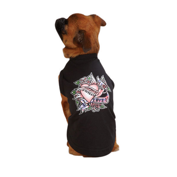 East Side Collection Clover Tatoo Canine Rocker Tee HOT ZM471