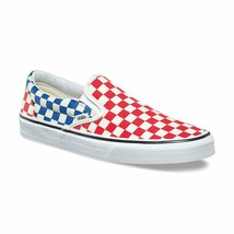 Vans Classic Slip On (Checkerboard) Red Blue American Flag Womens Shoes - $57.95
