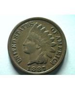 1887 INDIAN CENT PENNY EXTRA FINE XF EXTREMELY FINE EF NICE ORIGINAL COIN - $26.00