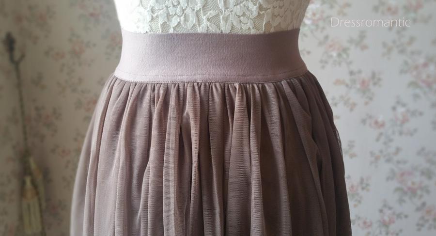 COFFEE High Waisted Plus Size Maxi Skirt Floor Length Bridesmaid Tulle Skirt NWT image 5