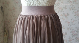 COFFEE High Waisted Plus Size Maxi Skirt Floor Length Bridesmaid Tulle Skirt NWT image 5