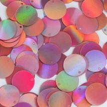 Round Sequin Paillettes 18mm Top Hole Pink Lazersheen Reflective Metallic - $14.97