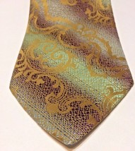 Wembley Mens Necktie Vintage Polyester Green Purple Gold Costume Theater - $19.79