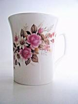 Queensway Fine Bone China Coffee Tea Cup Pink Roses Daisies Staffordshir... - $6.88