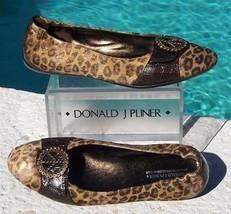 Donald Pliner Couture Gator Leather Rhinestone Peace Flat Shoe Haircalf ... - $168.75
