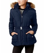 Puffer Coat Rampage NWT Small Junior Faux Fur Trim Belted Quilted Navy Blue - $34.64