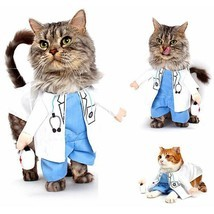 Funny Cat Costume Doctor Cosplay Suit Pet Dogs Clothes Uniform Clothing ... - €11,90 EUR