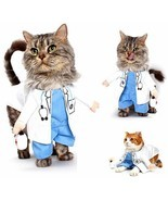 Funny Cat Costume Doctor Cosplay Suit Pet Dogs Clothes Uniform Clothing ... - £10.64 GBP