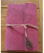 "Leather Journal Book RED LEAF  Suede Lining 5."" x 7.1/4"" refillable pages - $16.65"