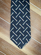 Van Heusen Navy Green & Beige Pattern 100% Silk Necktie Tie  - $9.89