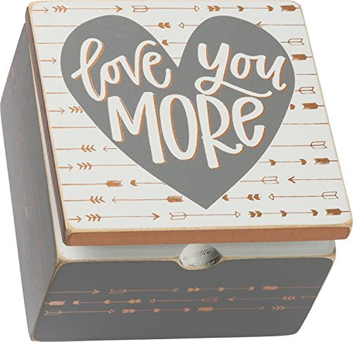 Primary image for Primitives by Kathy Love You More Keepsake Box Sign Wooden Hinged Box