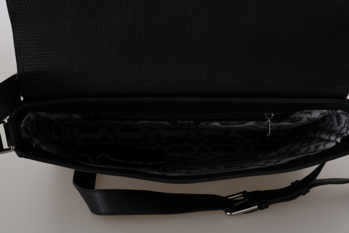 Black Leather Laptop Shoulder Messenger Bag
