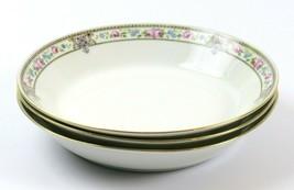 Set of 3 Vintage Hutschenreuther Salad Plates Blue Pink Floral Gold Trim Bavaria - $39.59