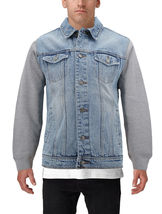 Men's Two Tone Jean And Grey Jersey with Removable Hood Denim Trucker Jacket image 5