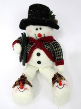 Mantle Snowman Plush Dangling Legs Black Felt Hat Holiday Winter Christm... - $12.46
