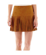 Rewind Chocolate Faux-Suede Fringe Skirt Sizes 9, 11 New Msrp - $20.02
