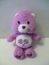 2004 Care Bears Share Bear Plush Stuffed Animal Purple with heart  8 inch  - $11.50