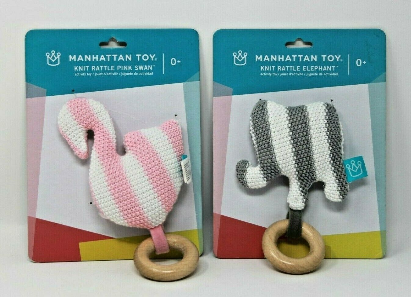 Primary image for Manhattan Toy Baby Knit Rattle Elephant & Swan Striped Brand New