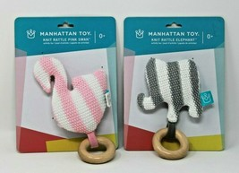 Manhattan Toy Baby Knit Rattle Elephant & Swan Striped Brand New - $14.24