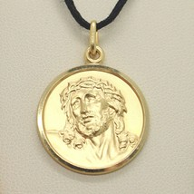 18K YELLOW GOLD ECCE HOMO, JESUS CHRIST FACE MEDAL DETAILED MADE IN ITALY, 17 MM image 2