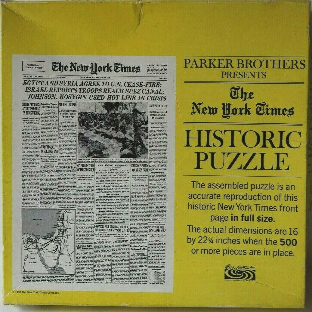 VTG 1968 Parker Brothers New York Times Historic Puzzle Israel 6 Day War *RARE* - $22.97