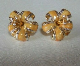 Vintage Signed NOLAN MILLER Enamel & Clear Rhinestone Flower Clip Earrings - $94.05